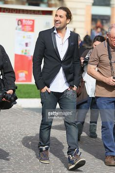 David Garrett attends the 'Il Violinista del Diavolo' at Piazza Cavour photocall on February 17, 2014 in Rome, Italy.