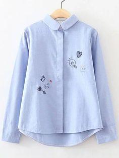 Blusa con bordado y ribete redondeado - azul-Spanish SheIn(Sheinside)