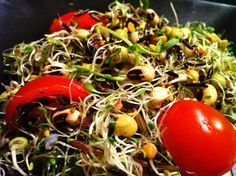 Bean Sprouts, Sprouted Wild Rice, and Tomato Salad