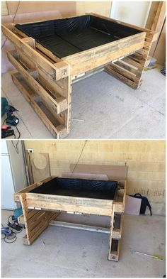 This DIY wood pallet project is making you introduce with the large designed structure of the garden bed idea. It is even taken as the form of the planter that is low bottom in the shaping view. It look so outstanding and much impressive to try it now! Wooden Pallet Projects, Wooden Pallets, Pallet Wood, Pallet Patio, Pallet Garden Projects, Backyard Pallet Ideas, Outdoor Pallet, Diy Projects, Potager Palettes