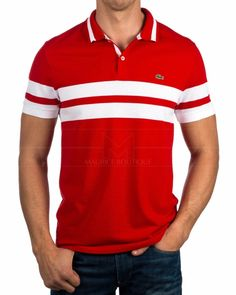 Polo hombre Lacoste - Rouge Mens Polo T Shirts, Golf T Shirts, Sports Shirts, Black Polo Shirt, Striped Polo Shirt, Camisa Polo, Polos Lacoste, Compression Clothing, Sport Outfits