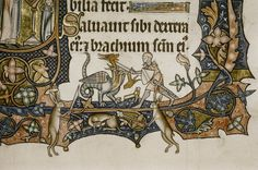 Psalter (known as the 'Ormesby Psalter'). Country or nationality of origin: English. Date: 13th century, end - c. 1300; c. 1310 (initials and borders). Image description: Border: Knight fighting beast.