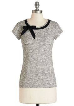 All Ready to Bow Top - Knit, Grey, Solid, Bows, Work, Pinup, Darling, Short Sleeves, Fall, Grey, Short Sleeve, Black