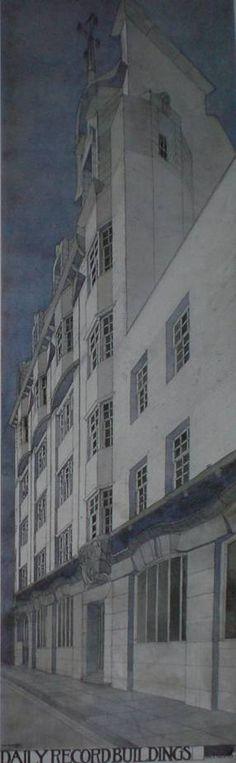 Perspective depuis le Sud-Est du Daily Record Building à Glasgow, 1901, crayon, encre et aquarelle sur papier, 117 x 37 cm, Université de Glasgow.