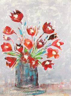 """red flowers in blue vase"" (this is number 48 of 50)"