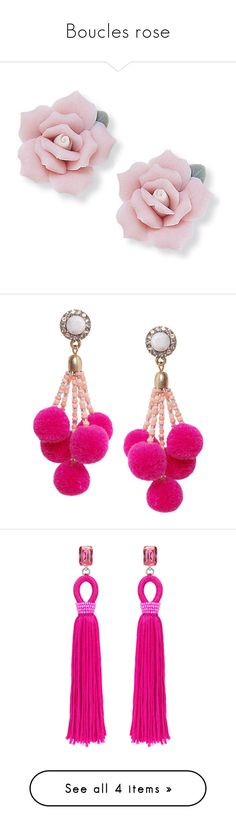 """""""Boucles rose"""" by liligwada ❤ liked on Polyvore featuring jewelry, earrings, accessories, pink, brincos, polish jewelry, earring jewelry, stud earrings, beach earrings and beachy jewelry"""