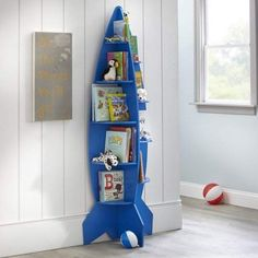 Mainstays Kids Rocket Shaped Bookshelf, Red or Blue Image 1 of 3 Boys Space Bedroom, Outer Space Bedroom, Boys Bedroom Decor, Boy Room, Bedroom Red, Kids Doll House, Rockets For Kids, Minimalist Kids, Bookshelves Kids