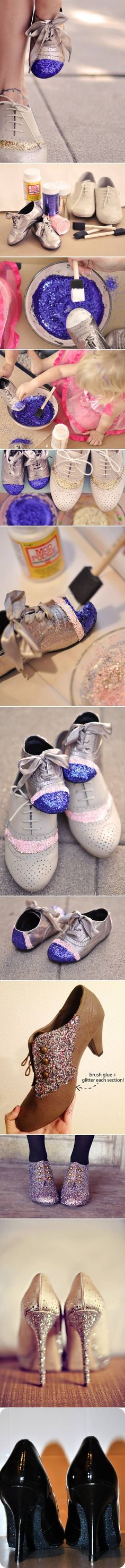DIY Easy Glitter Shoes DIY Projects