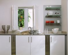 Kitchen Shutters, Our plantation shutters are made to measure to fit every type of window. Wooden shutters for Kitchens are popular as they are easy to maintain Kitchen Shutters, Wooden Window Shutters, Farmhouse Shutters, White Shutters, Kitchen Blinds, Interior Shutters, Classic Shutters, Board And Batten Shutters