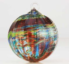 Hand Blown Peacock Glass Ornament. Glass Eye Studio.