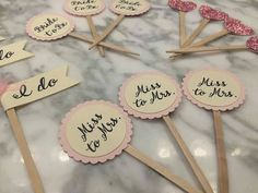 Bridal shower  cupcake toppers hearts miss by PerfectLittleDeets