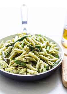 Penne with Spicy Pesto and Asparagus. Easy weeknight dinner recipe