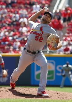 starting pitcher Michael Wacha throws against the Cincinnati Reds in the first inning. Cards won the game 4-1.  4-11-15