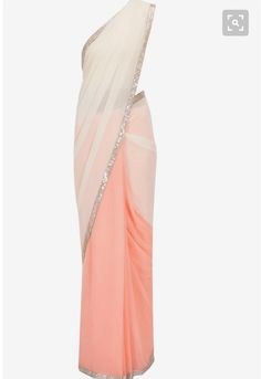 Manish Malhotra presents Peach and nude seqin embroidered border sari with chantilly blouse available only at Pernia's Pop-Up Shop. Indian Attire, Indian Ethnic Wear, Indian Style, Indian Dresses, Indian Outfits, Farewell Sarees, Bridesmaid Saree, Jute, Simple Sarees