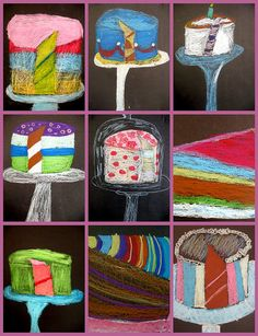 wayne thiebaud cakes. Love the black background and view of cake inside.