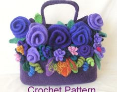 Knitting Pattern borsa fiore di Felted di GraceKnittingPattern