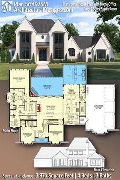 Architectural Designs House Plan 56497SM comes in under 4000 Sq Ft with 4 Beds, 3 full baths and a 3-car side entry garage. Click the pin or visit our website to learn more today! Best House Plans, Modern House Plans, 4000 Sq Ft House Plans, Wall Exterior, Dream House Exterior, Architectural Design House Plans, Flex Room, Beautiful Home Designs, Transitional House