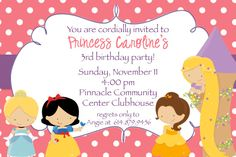 disney princess party invitations - Google Search