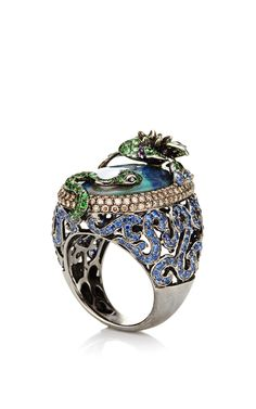 Diamond And Tsavorite Ring by Wendy Yue for Preorder on Moda Operandi