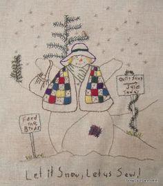 Voilà la 3ème Lady des neiges, j'aime bien l'idée : laissons tomber la neige et cousons....mais pas pour tout de suite ! Patrons Chickadee...