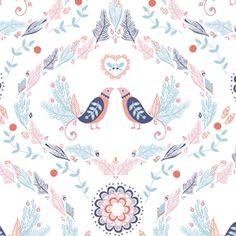 Hawthorne Threads - Calliope - Lyrical Lovebirds in White