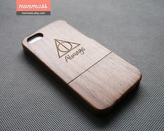 natural walnut wood iPhone case, wood iPhone 5s Case, wood iPhone 5 case, laser engraved, Harry Potter deathly hallows always, 120009 on Etsy, $28.13 CAD