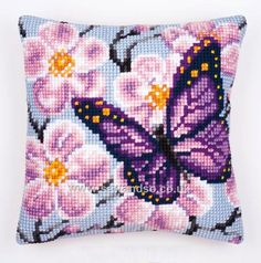 Buy Purple Butterfly Cushion Front Chunky Cross Stitch Kit online at sewandso.co.uk