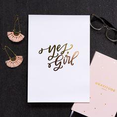 Hand lettered art print in gold foil + rose gold foil. A4. Artwork by Courtney Johnson of Lovely Lettering