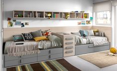 KIBUC, muebles y complementos - Juveniles Chroma Boy And Girl Shared Bedroom, Shared Boys Rooms, Twin Bedroom Sets, Box Bedroom, Boys Bedroom Decor, Shared Bedrooms, Kids Bedroom Designs, Kids Room Design, Boy Room