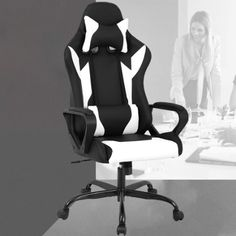Racing Office Chair, High-Back PU Leather Gaming Chair Reclining Computer Desk Chair Ergonomic Executive Swivel Rolling Chair with Adjustable Arms Lumbar Support for Women, Men(White) Office Gaming Chair, Computer Desk Chair, High Back Office Chair, Swivel Office Chair, Ergonomic Office Chair, Reclining Office Chair, Rolling Chair, Cool Chairs, Bar Chairs