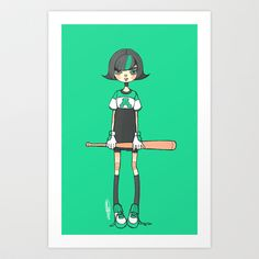baseball!green Art Print by catamariii - $15.00