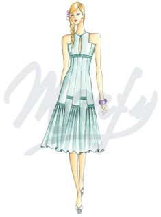 The Marfy hand made pre-cut sewing pattern :: Latest Additions Online :: Spring/Summer :: Sewing pattern 3166 - Marfy Patterns, Dress Sewing Patterns, Vintage Sewing Patterns, Fashion Illustration Template, Beauty Illustration, Haute Couture Fashion, Fashion Art, Fashion Design, Dress Making