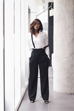 Black pinstripe high rise pants with suspenders