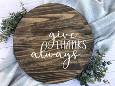 Give Thanks Always Sign Give Thanks Sign on Wood Thanksgiving Wood Crafts, Thanksgiving Signs, Christmas Wood Crafts, Thanksgiving Decorations, Etsy Co, Picture Frame Crafts, Craft Show Ideas, Crafts To Make And Sell, Fall Signs