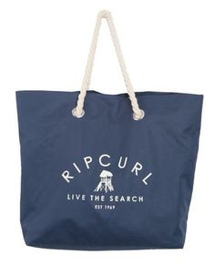 SURF HUT BEACH BAG // dark denim -  Oversized beach bag with fun lifeguard tower logo print.