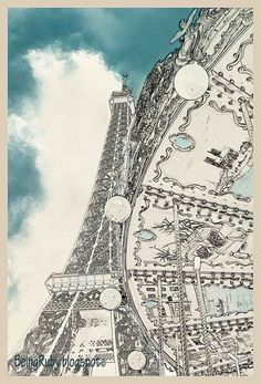 Vintage poster art, The Eiffel Tower