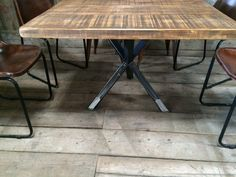 VINTAGE INDUSTRIAL RUSTIC RECLAIMED PLANK SQUARE TOP DINING TABLE TRIPOD STEEL BASE (HANDMADE UK)