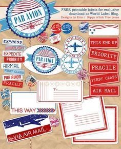Free Printable Air Mail label kit -- send a letter or a parcel overseas via airmail. Designed by @Erin B B Rippy - Ink Tree Press This wonderful Par Avion collection of labels for all your envelopes and packages to be sent overseas via Air Mail – yes making them look really cool for the recipient.: