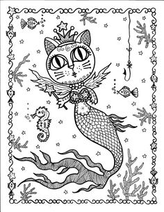 MERKITTIES A fun fantasy coloring book of cat mermaids or Merkitties as I like to call them. * 12 pages of black and white pics on heavy Cat Coloring Page, Animal Coloring Pages, Coloring Book Pages, Coloring Sheets, Coloring Stuff, Mermaid Cat, Mermaid Coloring, Kawaii, Fairy Art