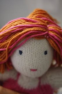Knitted doll tutorial --- love the hair.