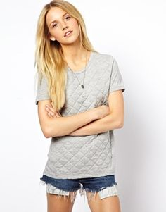 Image 1 ofASOS T-Shirt with Quilted Section
