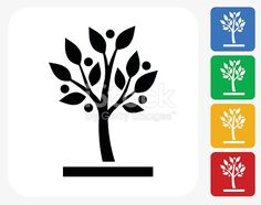 Growing tree Icon. This 100% royalty free vector illustration features the main icon pictured in black inside a white square. The alternative color options in blue, green, yellow and red are on the...