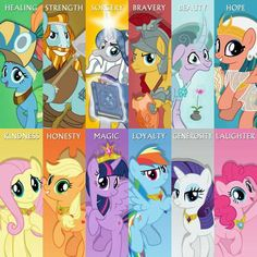 The Pillars and the Mane Six, which each of them have their own element. My Little Pony Drawing, My Little Pony Comic, My Little Pony Pictures, Rainbow Dash, My Little Pony Wallpaper, Imagenes My Little Pony, Mlp Memes, Little Poni, Princess Twilight Sparkle