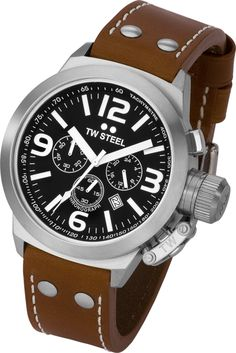 eb73f1eae35 Mens TW Steel 45mm Brown Canteen Chronograph Watch Cool Watches