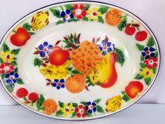 Vintage Enamelware Platter with Fruit & Flowers by KKsVintage, $29.95