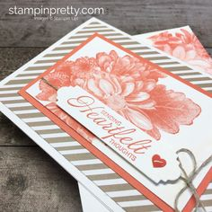 Learn how to create a simple sympathy card using Stampin Up Heartfelt Blooms - Mary Fish StampinUp