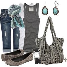 I like a comfy jean capri and I like the idea of adding accessories to a tank to dress it up  - good for weekends!