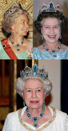 THE BRAZILIAN AQUAMARINE PARURE: Her Majesty Queen Elizabeth II wearing parts of the parure on different occasions.
