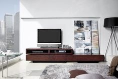 Floating wood TV cabinet
