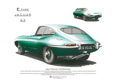 Jaguar E-Type Series 1 Fixed Head Coupe ART POSTER A3 size